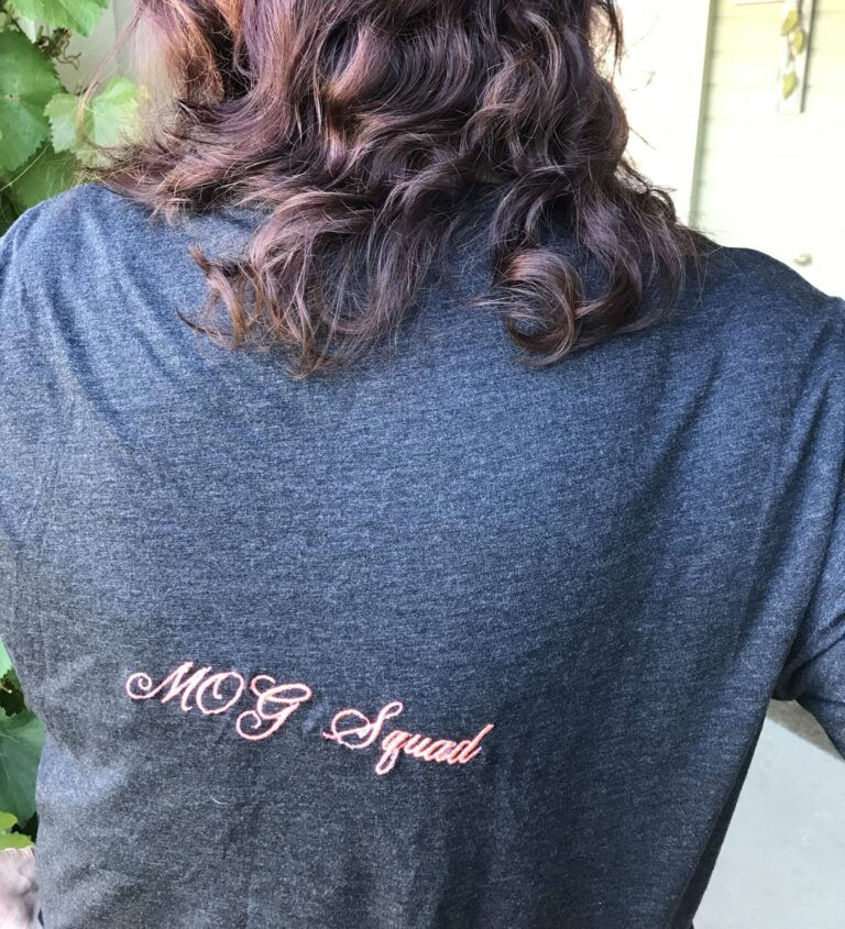 Andrea shows off her MOG Squad t-shirt